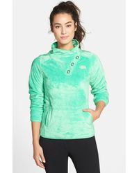 The North Face | Green 'mossbud' Snap Neck Pullover | Lyst