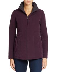 Gallery | Purple Petite Mockneck Collar Quilted Coat | Lyst