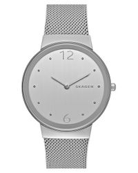 Skagen | Metallic 'freja' Mesh Strap Watch | Lyst