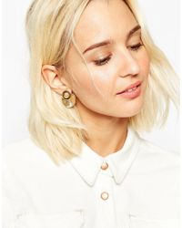 ASOS - Metallic Double Button Occasion Swing Earrings - Lyst