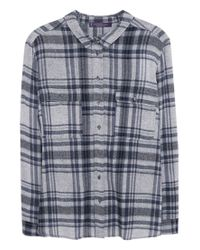 Violeta by Mango | Blue Check Wool-blend Shirt | Lyst