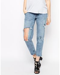 ASOS - Blue Thea Girlfriend Jean In Daydrift Wash With Extreme Rip - Lyst
