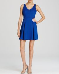 Aqua | Blue Pointelle Fit And Flare Dress | Lyst