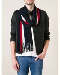 Moncler - Blue Striped Scarf for Men - Lyst