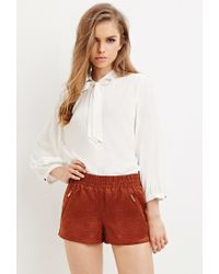 Forever 21 - Brown Perforated Faux Suede Shorts - Lyst