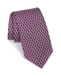 Ferragamo | Purple Horseshoe Print Silk Tie for Men | Lyst
