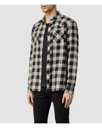 AllSaints - Blue Erie Ls Shirt for Men - Lyst