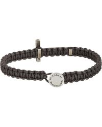 Zadeh | Metallic Silver Cross & Macramé Cord Bracelet for Men | Lyst