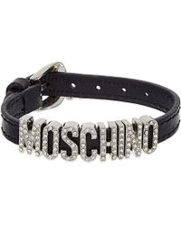 Moschino | Diamanté Embellished Logo Bracelet, Women's, Black | Lyst