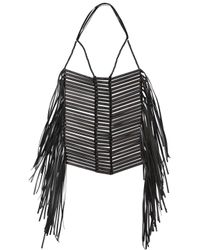 CoSTUME NATIONAL | Black Wood & Leather Necklace | Lyst