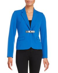 Calvin Klein | Blue Petite Snap-front Blazer | Lyst