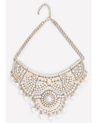 Bebe | White Scrolled Bib Necklace | Lyst