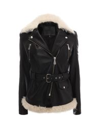 McQ - Black Leather & Shearling Belted Jacket - Lyst