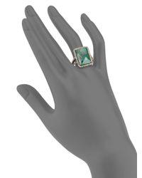 Bavna - Green Emerald & Pavã© Diamond Square Ring - Lyst