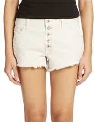 Free People | White Runaway Cutoff Denim Shorts | Lyst