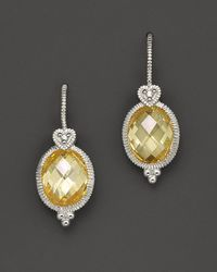 Judith Ripka - Yellow Oval Stone Earrings - Lyst