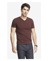 Express - Heathered Flex Stretch Cotton V-neck Tee for Men - Lyst