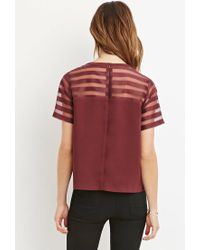 Forever 21 - Purple Contemporary Organza-paneled Crepe Top - Lyst