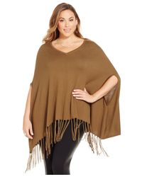 Michael Kors | Brown Michael Plus Size V-neck Fringe Poncho | Lyst