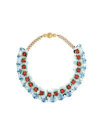 Shourouk - Blue Flora Aqua Necklace - Lyst