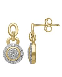 Lord & Taylor | Metallic Diamond 14k Yellow Gold Earrings | Lyst