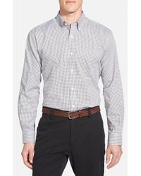 Cutter & Buck Blue Epic Easy Care Classic Fit Wrinkle Free Tattersall Plaid Sport Shirt for men
