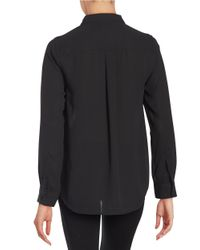 Cece by Cynthia Steffe | Black Ruffled Button-front Blouse | Lyst