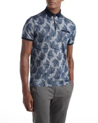 Ted Baker | Blue Fastfil Leaf Print Polo Shirt for Men | Lyst