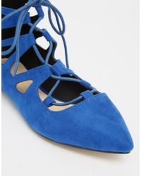 ASOS - Blue Lana Pointed Lace Up Ballet Flats - Lyst