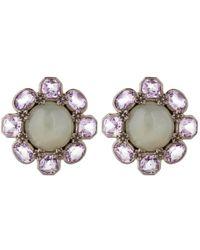 Stephen Dweck - Purple Silver Grey Moonstone Flower Stud Earrings - Lyst