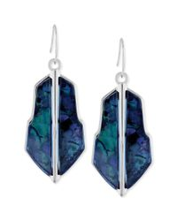 Vince Camuto | Blue Silvertone Iridescent Resin Drop Earrings | Lyst
