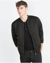 Zara   Black Quilted Jacket for Men   Lyst