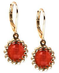 Anne Klein | Metallic Gold-tone Stone Drop Earrings | Lyst