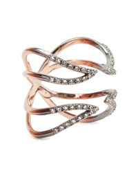Katie Rowland | Metallic Twisted Cross Ring | Lyst