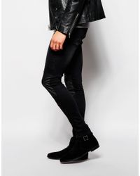 ASOS - Black Extreme Super Skinny Jeans With Biker Panels for Men - Lyst