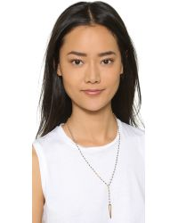 Chan Luu | Metallic Beaded Triangle Lariat Necklace - Pyrite | Lyst