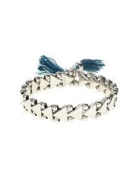 J.Crew | Blue Stretch Triangle Tassel Bracelet | Lyst