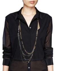 Iosselliani - Metallic Layer Chain Crystal Necklace - Lyst