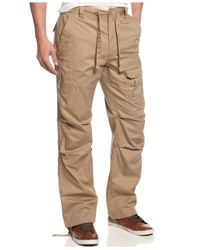 Sean John | Brown Men's Pleat Pocket Flight Cargo Pants for Men | Lyst