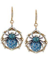Betsey Johnson - Metallic Gold-tone Crystal Pavé Spider Drop Earrings - Lyst