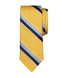 Brooks Brothers | Yellow Sidewheeler Stripe Tie for Men | Lyst