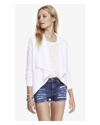 Express | White Ribbed Cascading Front Cover-up | Lyst