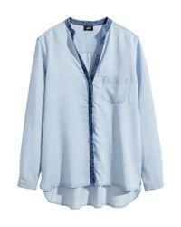 H&M - Blue Lyocell Denim Shirt - Lyst