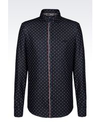 Armani Jeans   Blue Slim Fit Denim Shirt With Logo Pattern for Men   Lyst