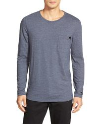 HUGO - Blue Regular Fit Long Sleeve Crewneck T-Shirt for Men - Lyst