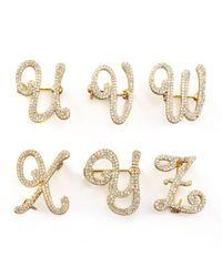 Tai | Metallic Cubic Zirconia Initial Pin Gold | Lyst