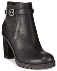 Circus by Sam Edelman | Black Deacon Stacked Heel Ankle Booties | Lyst