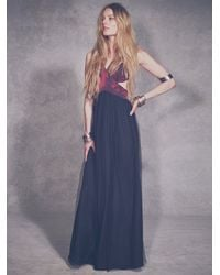 Shakuhachi - Red Womens Black Rose Tulle Maxi - Lyst