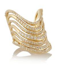 Lynn Ban - Metallic Crest Tip 14-Karat Gold Diamond Phalanx Ring - Lyst