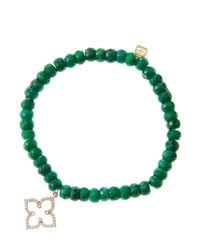 Sydney Evan - Green 6Mm Faceted Emerald Beaded Bracelet With 14K Rose Gold/Diamond Moroccan Flower Charm (Made To Order) - Lyst